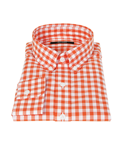 Orange Large Gingham Custom Dress Shirt