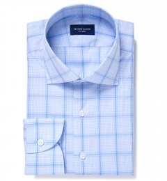 Canclini 120s Light Blue Prince of Wales Check Tailor Made Shirt