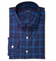 Canclini Royal Blue Tonal Plaid Custom Made Shirt