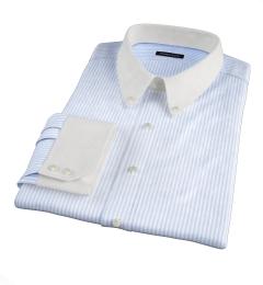 140s Light Blue Wrinkle-Resistant Bengal Stripe Men's Dress Shirt