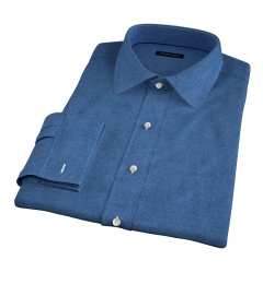 Canclini Ocean Blue Mini Herringbone Flannel Fitted Dress Shirt