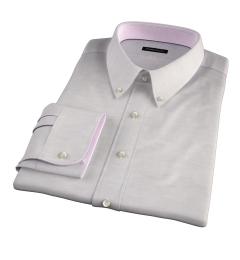 Portuguese Beige Cotton Linen Herringbone Dress Shirt