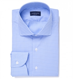 Chambers Blue Wrinkle-Resistant Check Dress Shirt