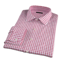 Canclini Red Blue Check Linen Custom Dress Shirt