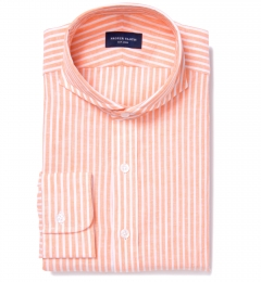 Orange Cotton Linen Stripe Custom Made Shirt