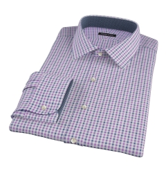 Purple and Navy Gingham Custom Dress Shirt