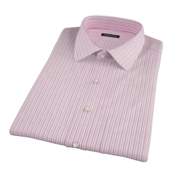 Canclini Red Cotton Linen Stripe Short Sleeve Shirt