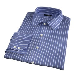 Albini Marine Stripe Oxford Chambray Fitted Dress Shirt