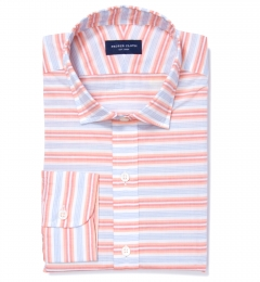 Albini Orange White Horizon Stripe Custom Dress Shirt