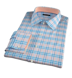 Thomas Mason Blue Spring Plaid Fitted Shirt