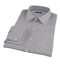 Canclini Grey Herringbone Flannel Custom Dress Shirt