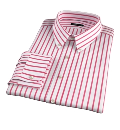 Canclini Red Wide Stripe Dress Shirt