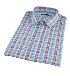 Green Brown Cotton Linen Check Short Sleeve Shirt