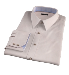 Genova 100s Beige End-on-End Fitted Dress Shirt