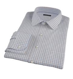 Canceling Light Blue and Brown Mini Gingham Custom Dress Shirt