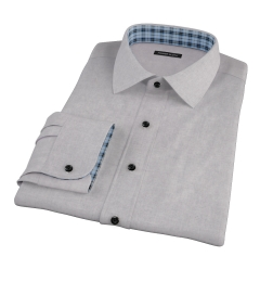 Light Grey Heathered Flannel Custom Dress Shirt