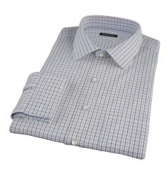Canclini Light Blue and Brown Mini Gingham Men's Dress Shirt