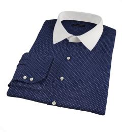 White on Navy Printed Pindot Custom Dress Shirt