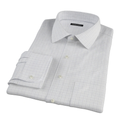 Mercer Blue Twill Check Custom Dress Shirt