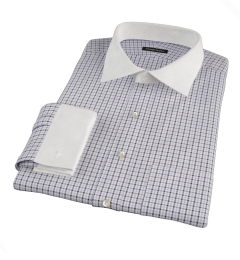 Canclini Grey 120s Multi Gingham Fitted Shirt