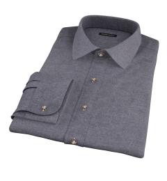 Canclini Charcoal Herringbone Flannel Men's Dress Shirt