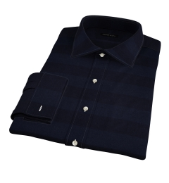 Portuguese Navy Cotton Linen Barre Stripe Custom Dress Shirt