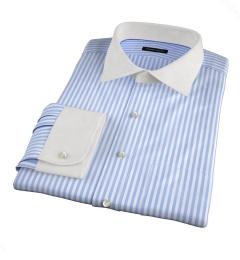 Thomas Mason Light Blue End-on-End Stripe Fitted Dress Shirt