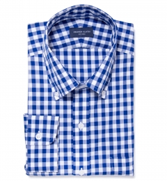 Royal Blue Large Gingham Men's Dress Shirt