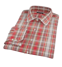 Canclini Red Yellow White Madras Fitted Shirt