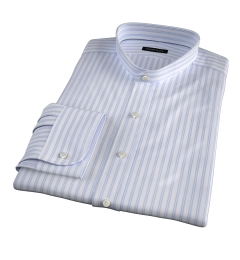 Canclini 120s Light Blue Border Stripe Custom Made Shirt