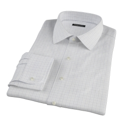 Mercer Blue Twill Check Fitted Dress Shirt