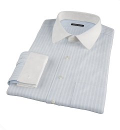 Canclini 120s Sky Blue Reverse Bengal Stripe Fitted Shirt