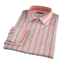 Albini Orange and Blue Summer Stripe Men's Dress Shirt