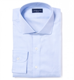 Canclini Light Blue Herringbone Custom Dress Shirt