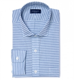 Albini Blue White Horizon Stripe Dress Shirt