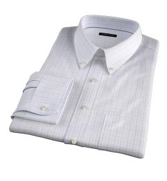 Lazio Lavender 100s Border Grid Men's Dress Shirt