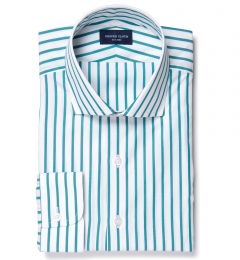 Canclini Turquoise Wide Stripe Dress Shirt