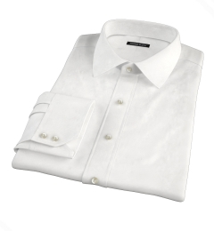 White Brushed Oxford Fitted Dress Shirt