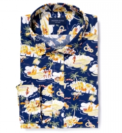 Japanese Aloha Print Fitted Shirt