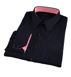 Thomas Mason Black Luxury Broadcloth Custom Made Shirt