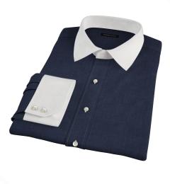 Albiate Navy Crosshatch Melange Men's Dress Shirt