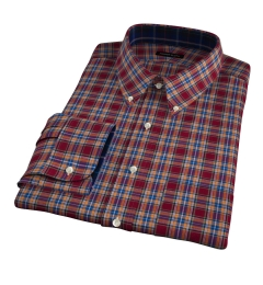 Burgundy and Amber Plaid Flannel Men's Dress Shirt