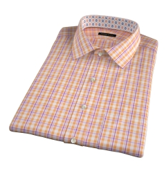 Canclini Orange San Sebastian Plaid Short Sleeve Shirt