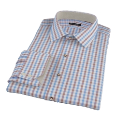 Thomas Mason Blue & Brown Gingham Custom Dress Shirt