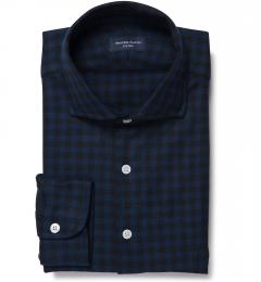 Cascade Blue Tonal Gingham Flannel Men's Dress Shirt