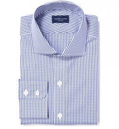 Canclini 120s Blue Medium Grid Fitted Dress Shirt