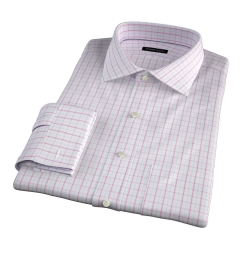 Verona Coral 100s Border Grid Custom Dress Shirt