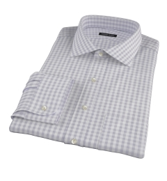 Canclini Grey 120s Gingham Men's Dress Shirt