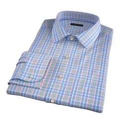 Amalfi Light Blue and Red Multi Check Fitted Dress Shirt