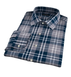 Teal and Cinder Large Plaid Flannel Custom Made Shirt
